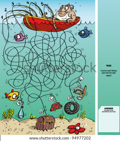 Fisherman Maze Game with Solution