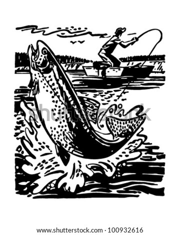 Fisherman Reeling In Trout - Retro Clipart Illustration - stock vector
