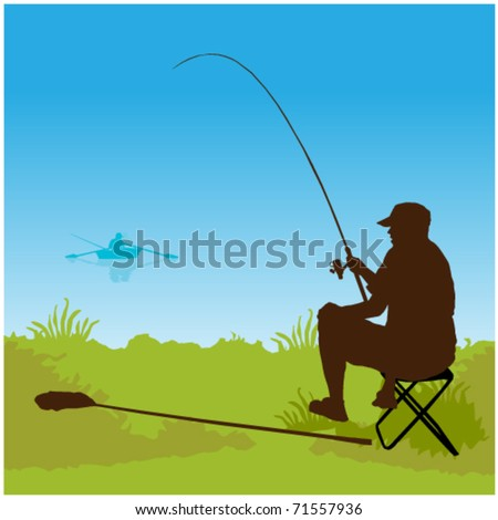fisherman sitting on the lake - stock vector
