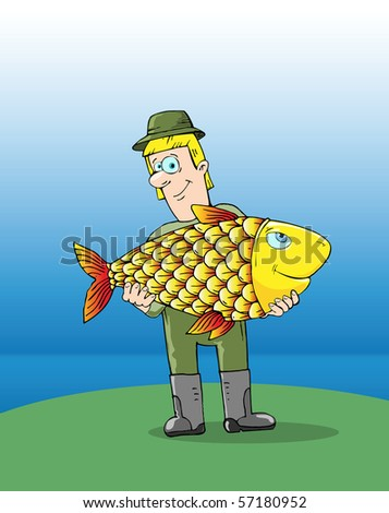 fisherman with a big fish in the hands - stock vector