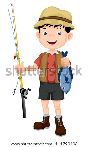 fisherman with fish vector illustration - stock vector
