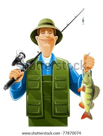 fisherman with rod spinning and fish vector illustration isolated on white background - stock vector