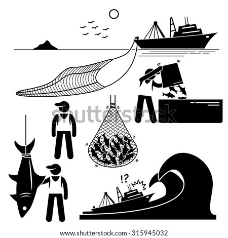 Fisherman working on fishery industry at industrial level on large boat ship. - stock vector