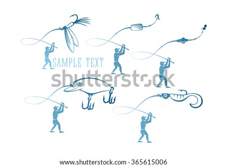 Fishermen and fishing lures - stock vector