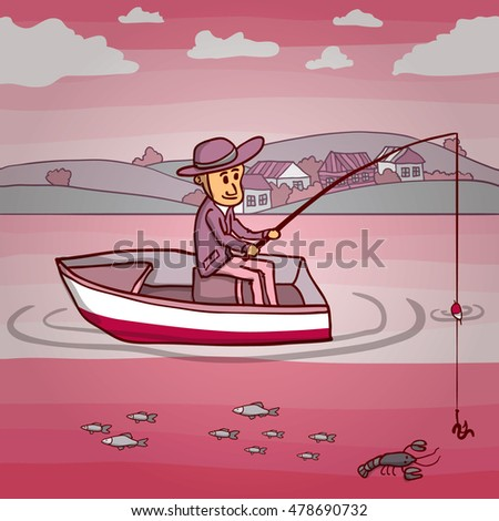 Fishermens in a boat on the river. Hand drawn cartoon vector illustration.