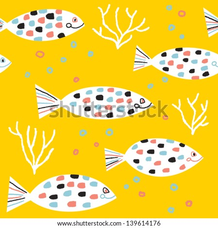 Fishes and colored bubbles vector seamless pattern - stock vector