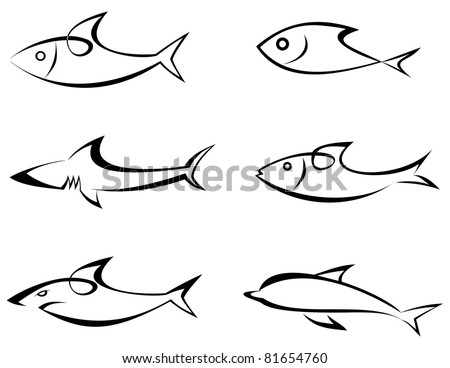 Fishes - set of outline vector icons. Game-fish. Icon that represents fish and seafoods products or it's value in the product. Symbol, emblem, sign. Tattoo. Design elements. - stock vector