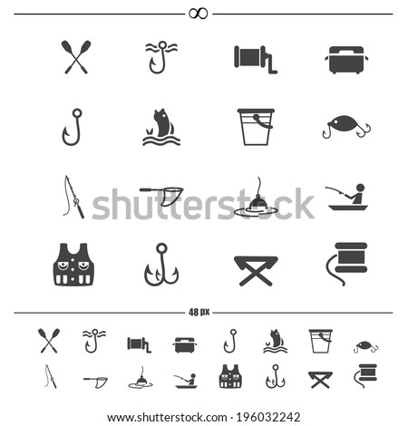 fishing and equipment for fishing icons.vector eps10 - stock vector