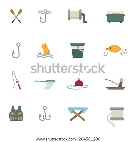 fishing and equipment for fishing icons vector eps10 - stock vector