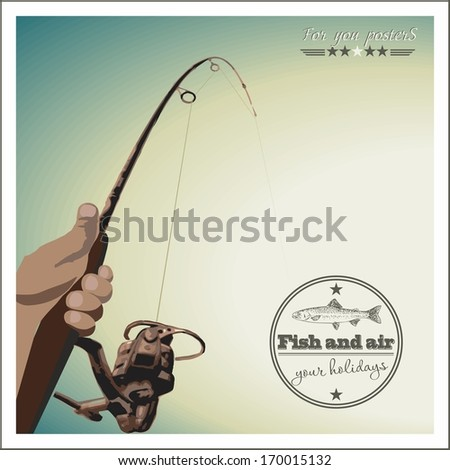 Fishing at sunset. Retro poster - stock vector