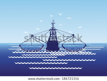 Fishing boat catches fish in the sea driftnets. - stock vector