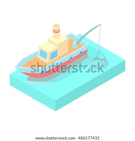 Fishing boat icon in cartoon style isolated on white background vector illustration
