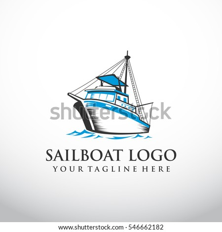 fishing boat logo template. Vector Illustration eps.10