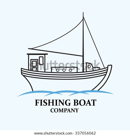 Fishing boat. Nautical ship. It can be used to create logos, emblems, signs. Vector image. - stock vector