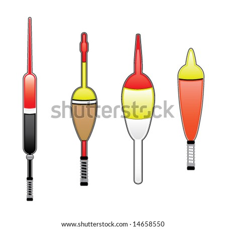 Fishing bobbers/floats - stock vector