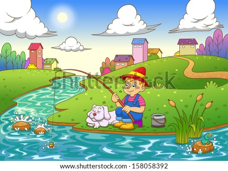 fishing boy. EPS10 File  simple Gradients,  simple Transparencies.All in separate group for easy editing. - stock vector