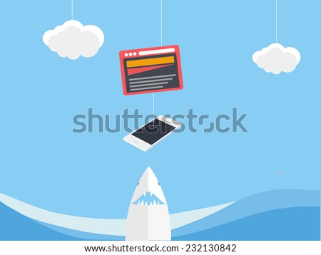 Fishing for customers - stock vector