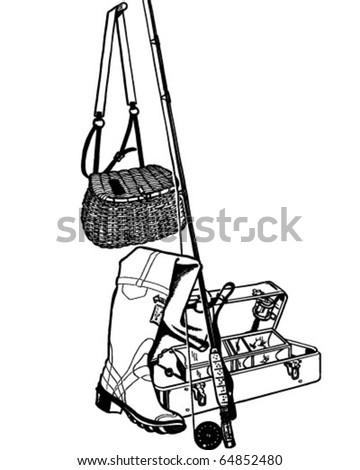 Fishing Gear - Retro Clipart Illustration - stock vector