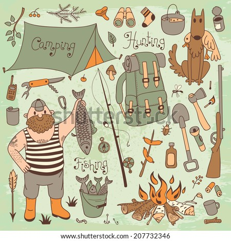 Fishing, hunting, camping set. Hand drawing design elements