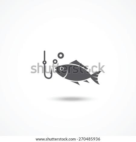 Fishing icon - stock vector