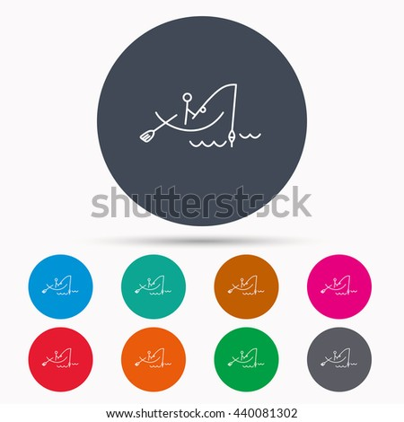Fishing icon. Fisherman on boat in waves sign. Spinning sport symbol. Icons in colour circle buttons. Vector - stock vector