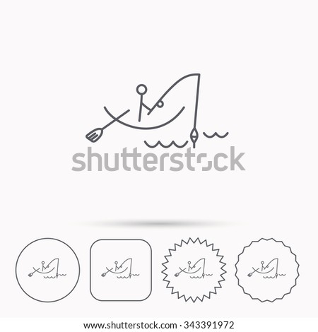 Fishing icon. Fisherman on boat in waves sign. Spinning sport symbol. Linear circle, square and star buttons with icons. - stock vector