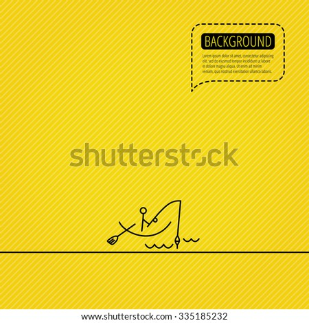 Fishing icon. Fisherman on boat in waves sign. Spinning sport symbol. Speech bubble of dotted line. Orange background. - stock vector