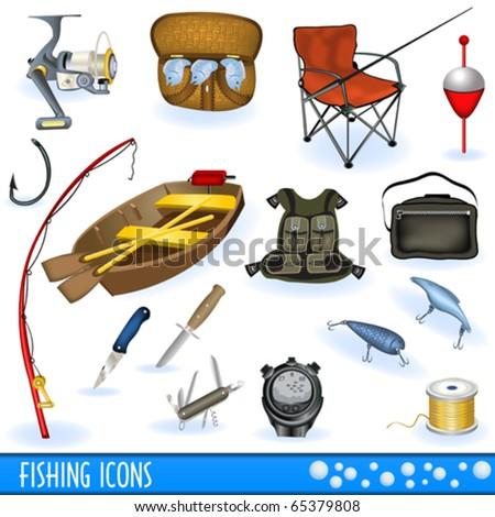 Fishing icons - stock vector