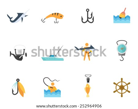 Fishing icons in flat colors style.  - stock vector