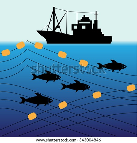 "fishing industry background - eco balance ""don't take too much"" - stock vector"