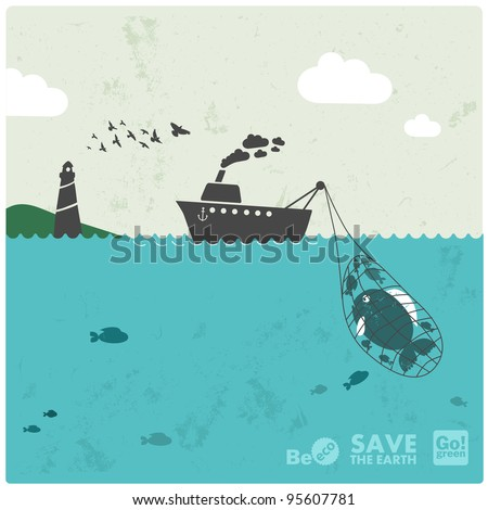 """fishing industry background - eco balance """"don't take too much"""" - stock vector"""