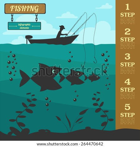 Fishing infographic elements. Set elements for creating your own infographic design. Vector illustration - stock vector