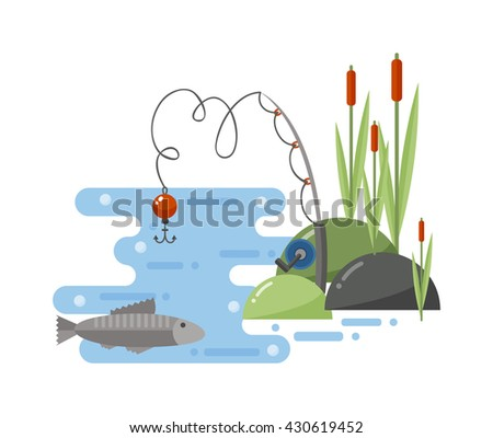 Fishing landscape fisherman with rod enjoying nature and fishing landscape travel outdoor leisure. Fishing landscape river, travel, summer, outdoor relaxation hobby sport. Water nature lake. - stock vector