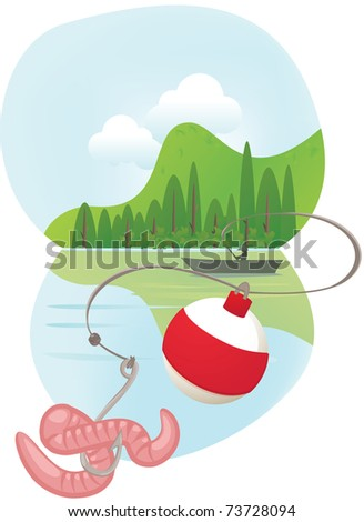 Fishing line casting - stock vector