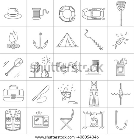 Fishing Line icons. - stock vector