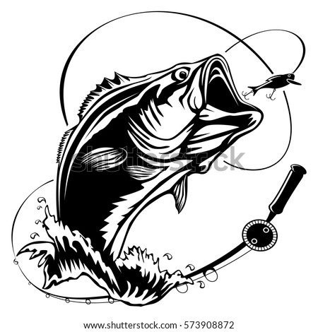 stock images royalty free images vectors shutterstock rh shutterstock com Graphic Black and White Largemouth Bass Black and White Bass Fishing Cartoon