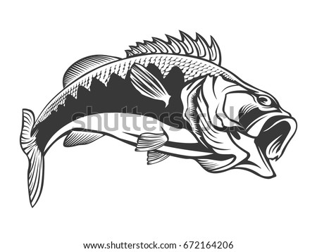 fishing logo bass fish with rod club emblem fishing theme vector illustration isolated
