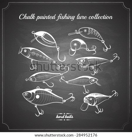 fishing lures collection of design elements sketch style chalk pained on chalkboard vintage vector illustration. hard baits, wobblers for your design project - stock vector