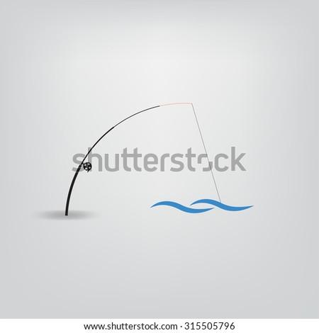 fishing rod icon - stock vector