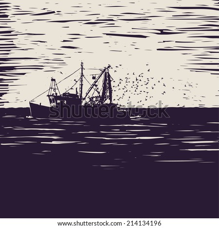 fishing schooner, sea and sea gulls. engraving style. vector illustration