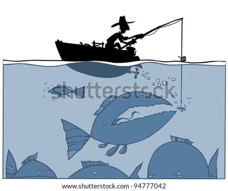 Fishing silhouette Illustration. - stock vector