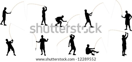fishing silhouettes - stock vector