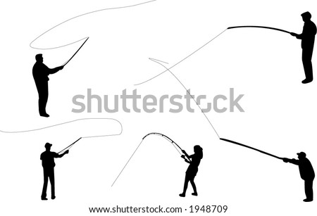 Fishing silhouettes (fishing line also included) - stock vector
