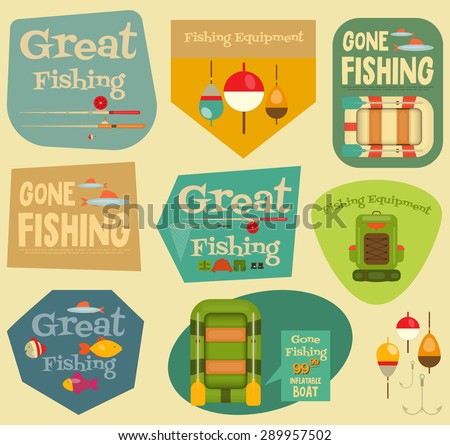 Fishing Stickers Set: Equipment for Fishing. Labels Collections. Layered file. Vector illustration. - stock vector