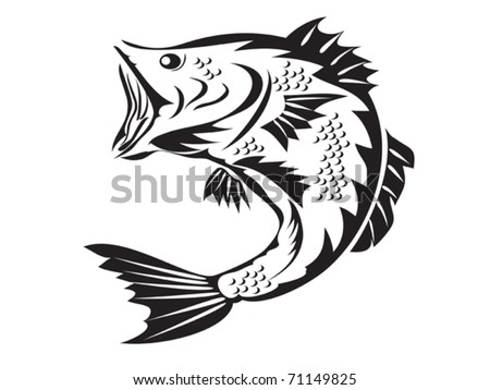 fishing symbol - bass - stock vector