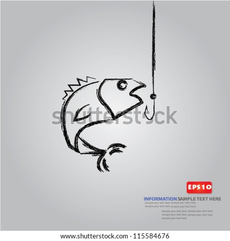 Fishing symbol on white background,Vector - stock vector
