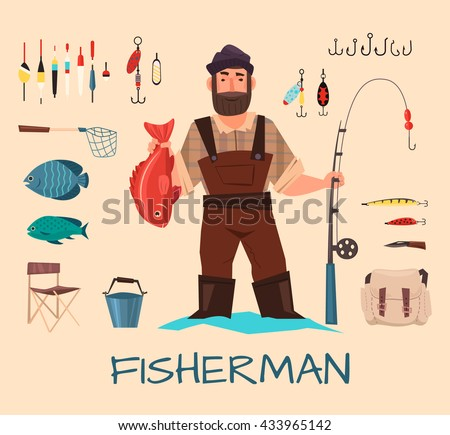 Fishing tools illustration. Fishing hook vector set. Fishing symbols, vector icons. Fisherman with fishing rod vector illustration. Items fishing hook, tackle, bait, reel, anchor, bucket.  - stock vector