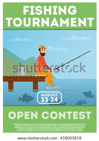 Fishing Tournament Poster Flyer Summer Outdoor Stock Photo Photo