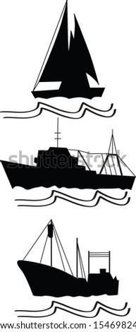 fishing, trawlers and ship that sails deep - stock vector