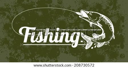 fishing vector labels  - stock vector